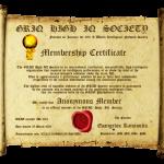 New GRIQ Membership Certificate